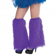 Purple Plush Leg Warmers Adult Costume