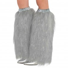 Silver Plush Leg Warmers Adult Costume