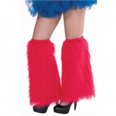Red Plush Leg Warmers Adult Costume