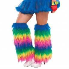 Rainbow Plush Leg Warmers Adult Costume