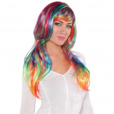 Hollywood Party Supplies - Glamorous Wig Rainbow