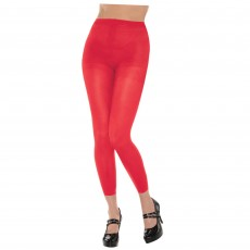 Red Footless Tights Adult Costume