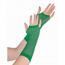 Green Long Fishnet Gloves Costume Accessorie