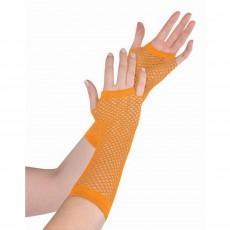 Orange Long Fishnet Gloves Costume Accessorie