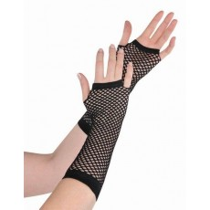 Black Party Supplies - Long Fishnet Gloves
