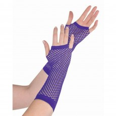 Purple Long Fishnet Gloves Costume Accessorie
