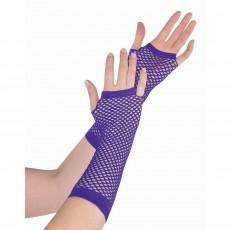 Purple Party Supplies - Long Fishnet Gloves