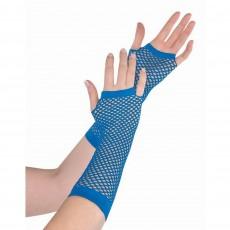 Blue Party Supplies - Long Fishnet Gloves Blue