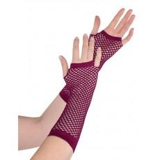 Burgundy Long Fishnet Gloves Costume Accessorie