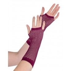 State of Origin Party Supplies - Long Fishnet Gloves Burgundy