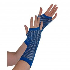 Blue Party Supplies - Long Fishnet Gloves Navy Blue