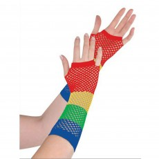 Rainbow Long Fishnet Gloves Costume Accessorie