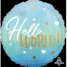 Round Blue Oh Baby Boy Standard HX Hello World! Foil Balloon
