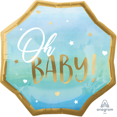 Blue Oh Baby Boy SuperShape XL Oh Baby! Shaped Balloon 55cm x 55cm