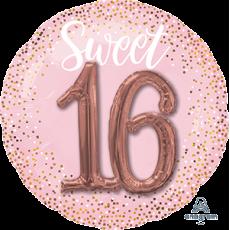 Round 16th Birthday Sweet Sixteen Blush Multi-Balloon Shaped Balloon 91cm