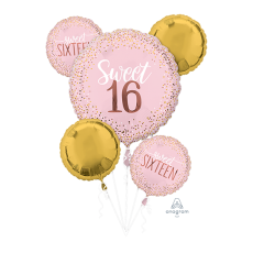 16th Birthday Sweet Sixteen Blush Bouquet Foil Balloons Pack of 5