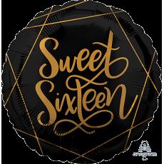 Round Black & Gold 16th Birthday Elegant Standard HX Sweet 16 Foil Balloon 45cm