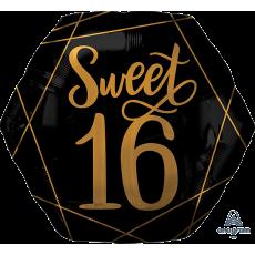 16th Birthday Black & Gold Elegant Sweet Sixteen SuperShape XL Shaped Balloon