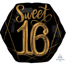 16th Birthday Black & Gold Elegant Multi-Balloon Shaped Balloon