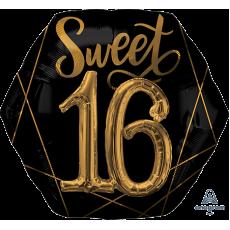 Hexagonal Black & Gold 16th Birthday Elegant Multi-Balloon Sweet 16 Shaped Balloon 76cm x 71cm