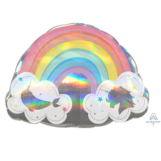 Magical Rainbow SuperShape Holographic Shaped Balloon 71cm x 50cm