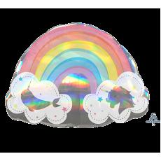 Magical Unicorn SuperShape Holographic Magical Rainbow Shaped Balloon
