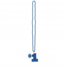 Number 1 Blue Bling Necklace Jewellery