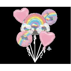 Magical Rainbow Unicorn Sparkle Bouquet Foil Balloons Pack of 5