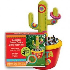 Mexican Fiesta Jumbo Inflatable Cactus Ring Toss Game & Cooler