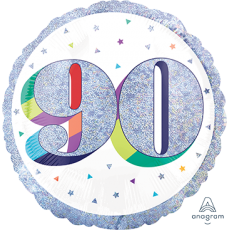 90th Birthday Here's to Your Birthday Standard Holographic Foil Balloon 45cm