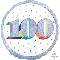 Round 100th Birthday Here's to Your Birthday Standard Holographic Foil Balloon 45cm
