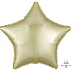 Star Satin Luxe Pastel Yellow Standard XL Shaped Balloon 45cm