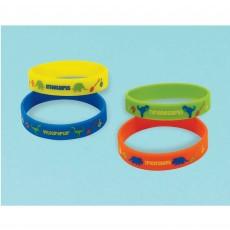 Prehistoric Dinosaurs Rubber Bracelets Favours Pack of 4