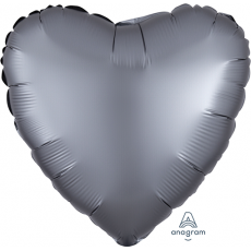 Grey Satin Luxe Graphite Standard HX Shaped Balloon