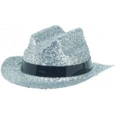 Cowboy & Western Mini Silver Glitter Cowboy Hat Head Accessorie