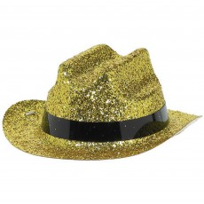 Cowboy & Western Mini Gold Glitter Cowboy Hat Head Accessorie
