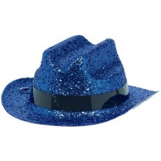 Cowboy & Western Mini Blue Glitter Cowboy Hat Head Accessorie