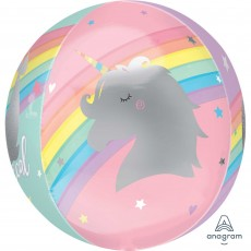 Orbz XL Magical Rainbow Unicorn Shaped Balloon 38cm x 40cm