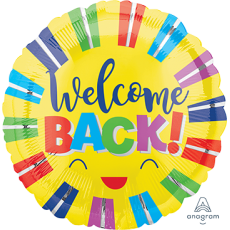 Welcome Party Decorations - Foil Balloon Colourful Stripes Welcome Back!