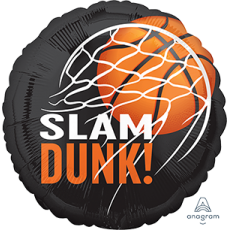 Round Basketball Fan Standard HX Slam Dunk! Foil Balloon 45cm