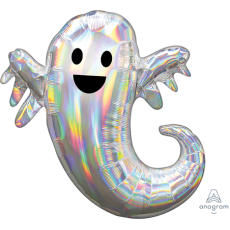 Halloween Iridescent SuperShape Holographic Ghost Shaped Balloon