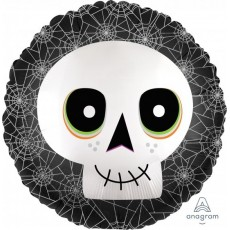 Halloween Party Supplies - Foil Balloons - Skull Satin Infused