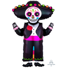 Halloween SuperShape Day of the Dead Skeleton Figure Shaped Balloon