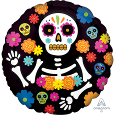 Halloween Party Supplies - Foil Balloons - Day of the Dead Skeleton
