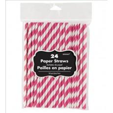 Bright Pink & White Stripes Paper Straws 19.68cm x 0.63cm Pack of 24