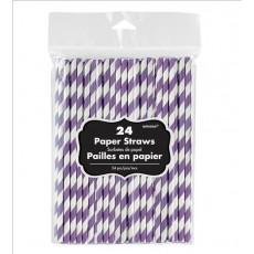 New Purple & White Stripes Paper Straws 19.68cm x 0.63cm Pack of 24