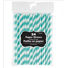 Dots & Stripes Robin's Egg Blue with White Stripes Straws