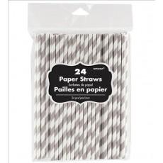Silver & White Stripes Paper Straws 19.68cm x 0.63cm Pack of 24