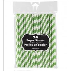 Stripes Kiwi Green & White Paper Straws