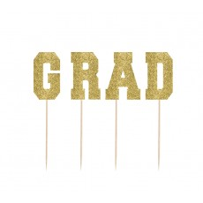 Gold Glittered Graduation GRAD Party Picks 19.1cm Pack of 4